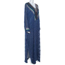 Missoni Navy Blue Lurex Knit Embellished Maxi Kaftan Dress M 211184