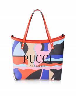 Большая Двухцветная Сумка Tote из Ткани Emilio Pucci 9RBC51 9R220 008 VIOLA/CORALLO