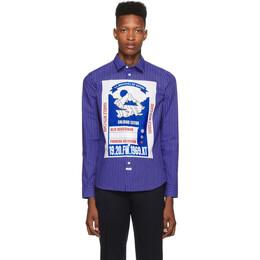 Kenzo Blue Striped Mountain Slim-Fit Shirt 192387M19200102GB