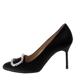 Manolo Blahnik Black Satin Olek Crystal Embellished Pumps Size 38.5 211043