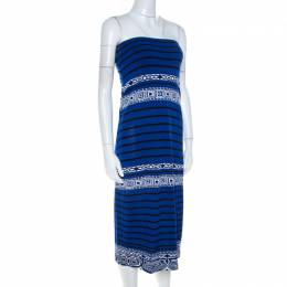 Emilio Pucci Blue Knit Aztec Pattern Strapless Dress S 211483
