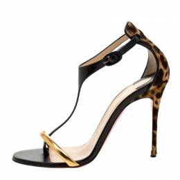 Christian Louboutin Leopard Print Pony Hair And Patent Leather Athena Alta T-Strap Open Toe Sandals Size 38.5 210872