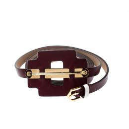 Tod's Burgundy/White Leather Belt 85CM 209005