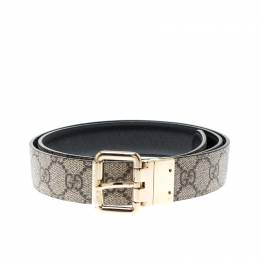 Gucci Beige/Black GG Canvas and Leather Reversible Belt 209492