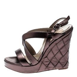 Valentino Metallic Grey Leather Cross Strap Wedge Sandals Size 39.5 210912
