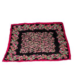 Dolce & Gabbana Black and Pink Rose Printed Silk Square Scarf 208519