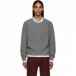 Thom Browne Grey Waffle Wool Relaxed Fit Crewneck Sweater MJT178A-05396