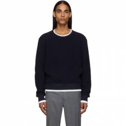 Thom Browne Navy Waffle Wool Relaxed Fit Crewneck Sweater MJT178A-05396
