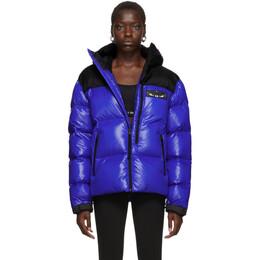 Marcelo Burlon County Of Milan Blue Down Patch Wings Jacket 192539F06100102GB