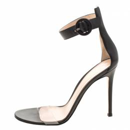 Gianvito Rossi Black Leather And PVC Stella Ankle Strap Open Toe Sandals Size 38 209782