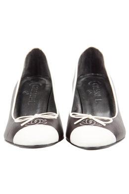 Chanel Monochrome Leather CC Cap Toe Platform Pumps Size 35 210916