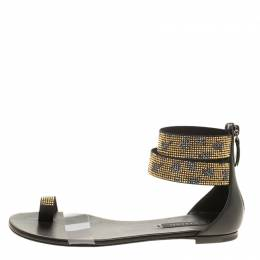 Casadei Two Tone Crystal Embellished Ankle Cuff and PVC Vinil Flat Sandals Size 37 137663