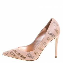 Le Silla Peach Crystal Embellished Leather Pointed Toe Pumps Size 40 106733