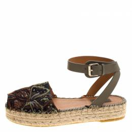 Valentino Olive Embroidered And Leather Ankle Strap Espadrille Sandals Size 40 117572