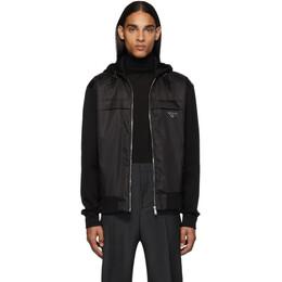 Prada Black Nylon Knit Jacket 192962M18000102GB