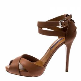 Ralph Lauren Brown Leather Ankle Strap Sandals 38.5 210836