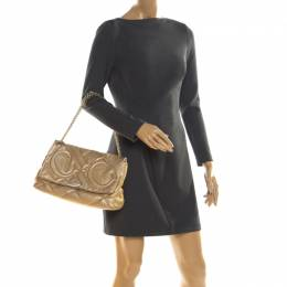 Carolina Herrera Gold Mettalic Quilted Leather Flap Chain Shoulder Bag 211447