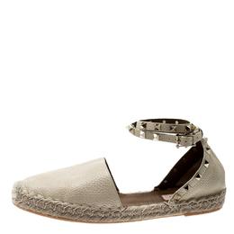 Valentino White Leather Rockstud Espadrille Flat Sandals Size 40 210706