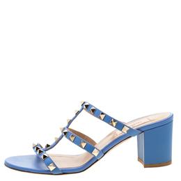 Valentino Blue Leather Rockstud Block Heel Cage Sandals Size 38 211016