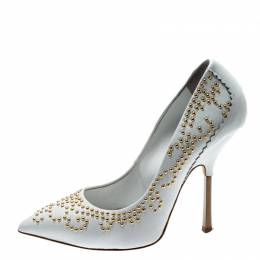 Giuseppe Zanotti Design White Stud Embellished Leather Pointed Toe Pumps Size 36 211703