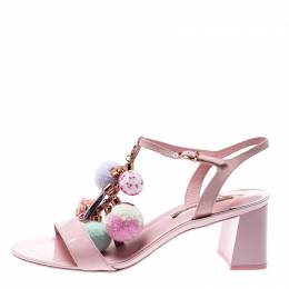 Sophia Webster Light Pink Patent Leather Jada T Strap Pom Pom Sandals Size 41 210352