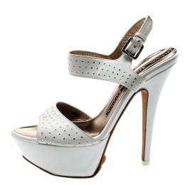 Baldinini White Crystal Embellished Leather Ankle Strap Platform Sandals Size 37 211820