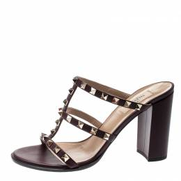 Valentino Purple Wine Leather Rockstud Block Heel Sandals Size 39.5 211823