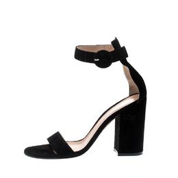 Gianvito Rossi Black Suede Versilia 60 Ankle Cuff Sandals Size 38 211236