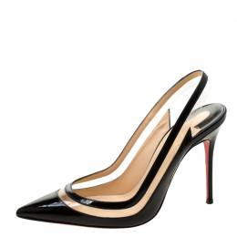 Christian Louboutin Black Patent Leather And PVC Paulina Pointed Toe Slingback Sandals Size 36.5 211353