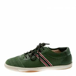 Gucci Green Perforated Leather And Suede Cap Toe Low Top Sneakers Size 41 211562