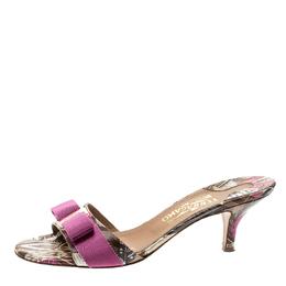 Salvatore Ferragamo Multicolor Printed Leather Glory Bow Slides Size 37.5 211404