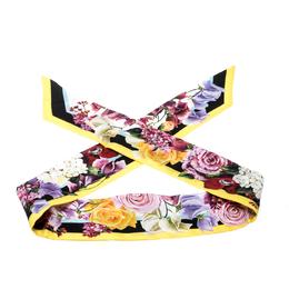 Dolce & Gabbana Multicolor Floral Printed Silk Bandeau Scarf 208554