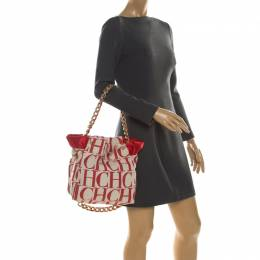 Carolina Herrera White/Red Canvas Bucket Chain Shoulder Bag 207725