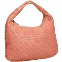 Bottega Veneta Flamingo Pink Intrecciato Leather Hobo Bag 198024