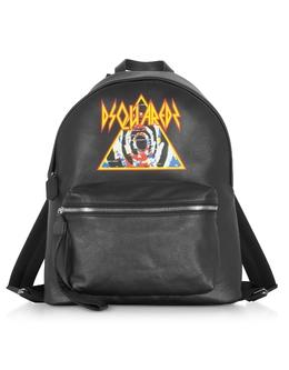Черный Рюкзак с Принтом Рок Dsquared2 BPM0016 / 01502382 2124 BLACK