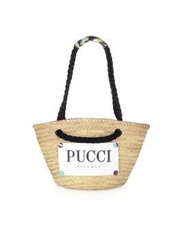 Коричневая и Натуральная Сумка Tote из Соломки Emilio Pucci 9RBC75 9R904 B53 NATURALE/BRUCIATO