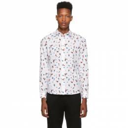 Kenzo White Little Painted Tiger Slim-Fit Shirt 192387M19201304GB