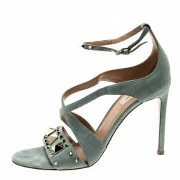 Valentino Light Grey Rockstud Cut Out Open Toe Ankle Strap Sandals Size 38.5 211206