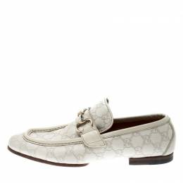 Gucci White Guccissima Leather Horsebit Loafers Size 41 211933