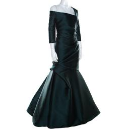 Monique Lhuillier Emerald Green Silk Satin Asymmetric Sleeve Evening Gown M 211716