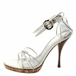 Casadei White Leather And PVC Cross Strap Sandals Size 39 211671