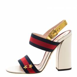 Gucci Multicolor Leather And Web Trim Block Heel Sandals Size 39.5 211701