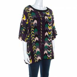 M Missoni Multicolor Chevron Print Silk Tunic Top M 211726