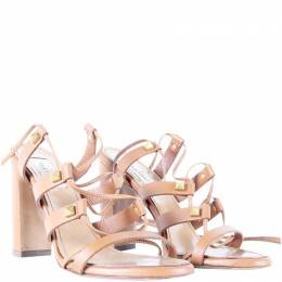 Valentino Brown Leather Block Heel Strappy Sandals Size 37 187444