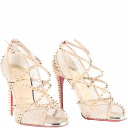 Christian Louboutin Beige Leather and Mesh Spike Strappy Sandals Size 37 187448