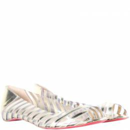 Christian Louboutin Silver Metallic Leather Transparent Peep Toe Ballet Flats Size 37 187452