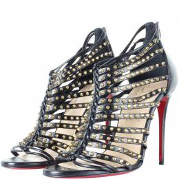 Christian Louboutin Black Leather Gold Spiked Millaclou Cage Sandals Size 37 187451