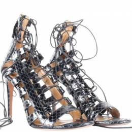 Aquazzura Black Python Lace Up Cage Sandals Size 37 187455