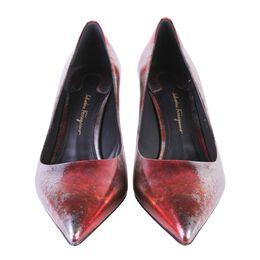 Salvatore Ferragamo Red/Silver Alba Rust Leather Pointed Toe Pumps Size 38.5 187693
