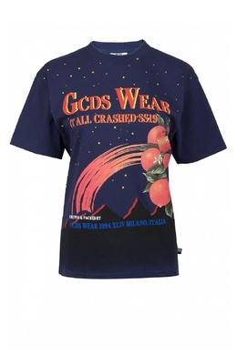 Синяя футболка с рисунками и надписями GCDS 2981143715